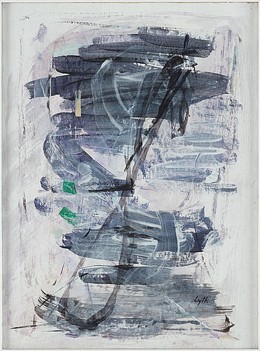 Harald lyth, mixed media on paper, signed.