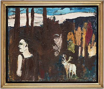 Hans Wigert, oil on canvas, signed and dated Grundsunda 1988 verso.