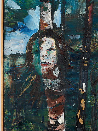 Hans wigert, oil on canvas, signed and dated grundsunda 1989 verso.