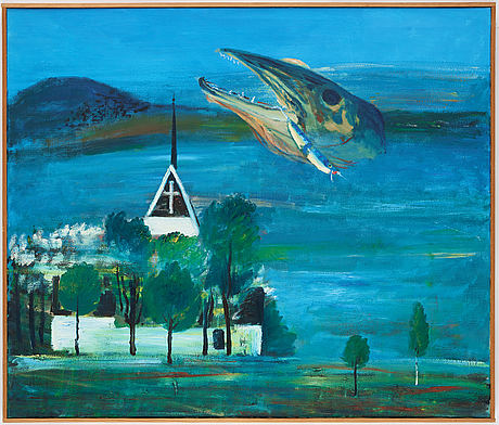 Hans wigert, oil on canvas, signed and dated grundsunda 1993 verso.