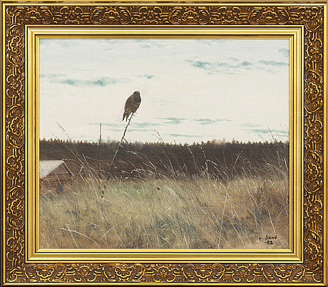 Lennart sand, oil on canvas. signed and dated 1982.