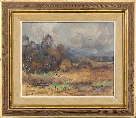 Lindorm liljefors, oil on canvas. signed and dated 1958.