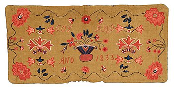 259. A carriage cushion, embroidered, ca 51-52 x 104,5-107 cm, signed and dated COS BMD ANO 1833, Scania.