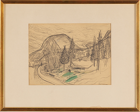 Axel nilsson, pencil and watercolour, signed.