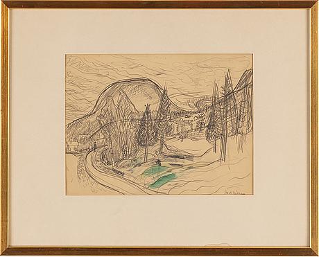 Axel nilsson, blyerts och akvarell, signerad.