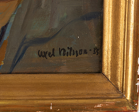 Axel nilsson, oil on canvas, signed and dated -35.