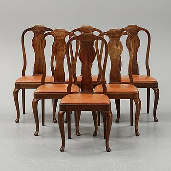 A set of six early 20th century  rococo-style chairs.
