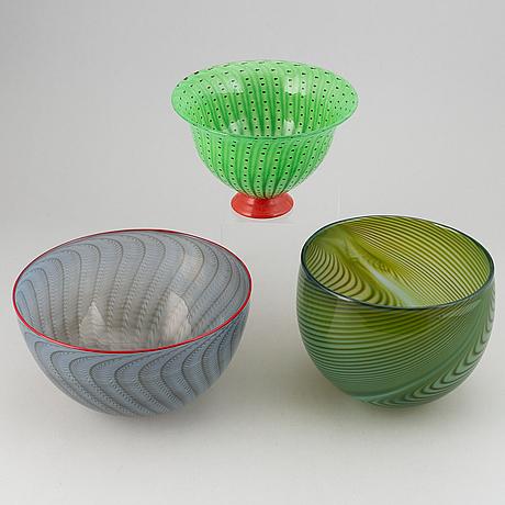 Skålar 3 st, glas, transjö, bla sven-åke carlsson, jan-erik ritzman, 1900-talets andra hälft.