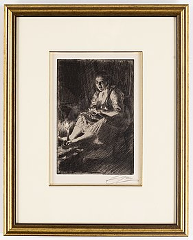Anders Zorn, etching, 1905, signed in pencil.