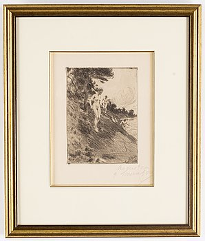 Anders Zorn, etching, 1912, signed in pencil by Emma Zorn.