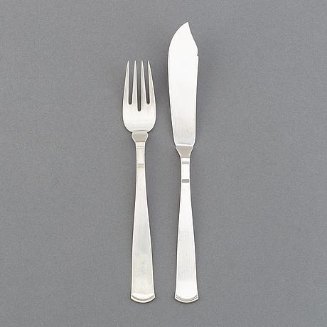 """A set of 12+12 """"rosenholm"""" silver flatware, gab, stockholm, 1930s."""