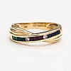 A 14k gold ring with sapphires, emeralds, rubies and diamonds ca. 005 ct in total. finnish import marks 1995.