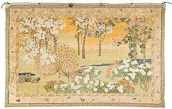 1153. VÄVD TAPET. Kesi (gobelängteknik). 230 x 358 cm. Japan sen Meiji.
