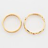 Two rings, 18k gold and enamel.
