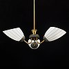 A brass ceiling lamp, mid 20th century.