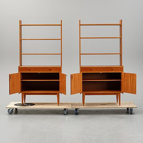 A pair of teak bookcases, 1950's/60's.