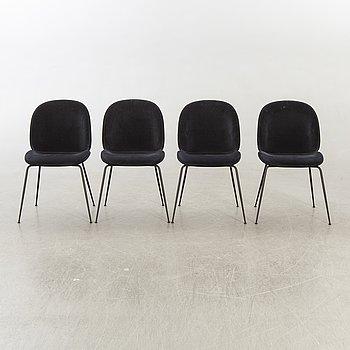 """GamFratesi stolar 4 st """"Beetle"""" för Gubi 2013."""