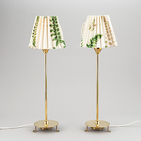 Josef frank, a pair of model 2552 brass table lamps, firma svenskt tenn, designed 1938.