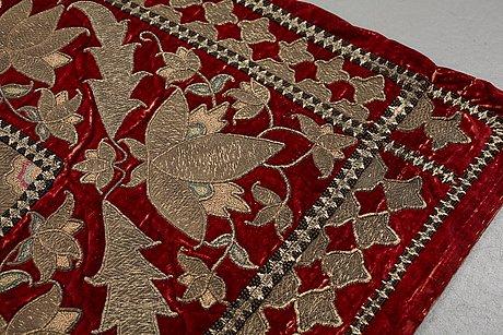An antique, 18 - 19th century, persian velvet embroidery, ca 150 x 103,5 cm.