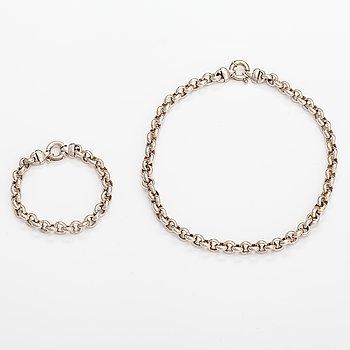 """A sterling silver necklace and bracelet """"Elegance"""". Kalevala koru, Helsinki 21st century."""