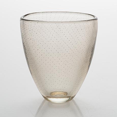 Gunnel nyman, glass vase, signed g. nyman notsjö 1947.