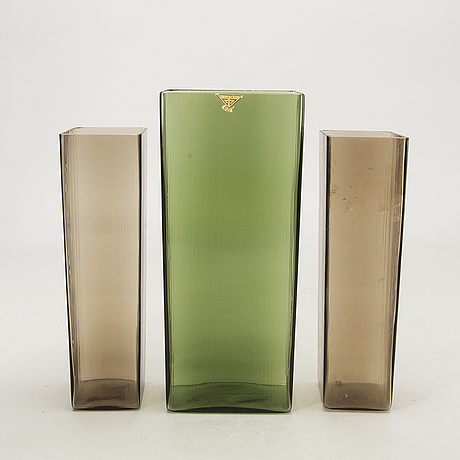 Vases, gullaskruf sweden designed by lennnart andersson, 1950s.