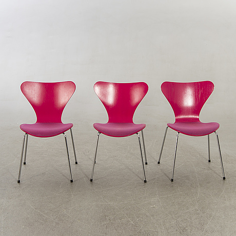 "Arne jacobsen chairs, 6 pcs, ""sjuan"", fritz hansen, denmark later part of the 20th century."