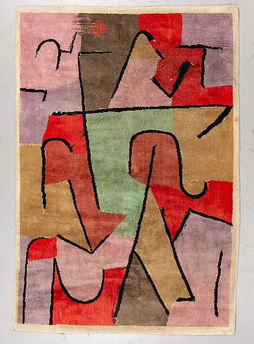 Matto after paul klee, machine made with pile, ca 205 x 140 cm, ege art line, denmark second half of the 20th century.