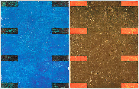 Gordon hart, signed and dated 1984 on verso. diptych. gesso, silver leaf and metal leaf on panel.
