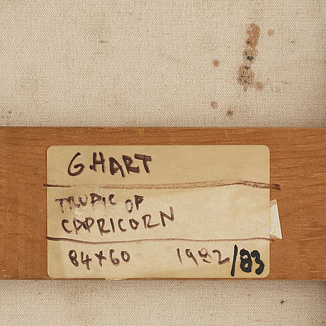 Gordon hart, signed and dated 1982/83 on verso. mixed media on canvas.