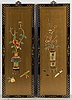 A pair of chinese wooden panels with stone inlays.