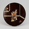 Panel, trä med sten/nefrit inlägg, kina, 1900-tal.