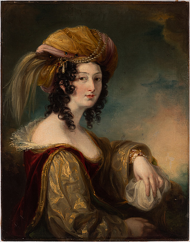 Thomas lawrence, circle of. unsigned. relined canvas on panel 92.5 x 71 cm.