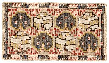 "200. Märta Måås-Fjetterström, a textile, ""Grodblad blå"", flat weave, ca 41 x 74,5 cm, signed AB MMF."
