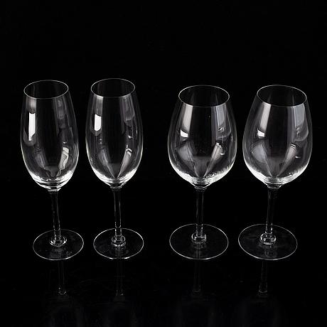 """Reijmyre glasbruk, """"senses"""", a set of 23 white wine glasses and 24 champagne glasses, design lina öhlund."""
