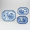 A set of three blue and white serving dishes, qing dynasty, qianlong (1736-95).