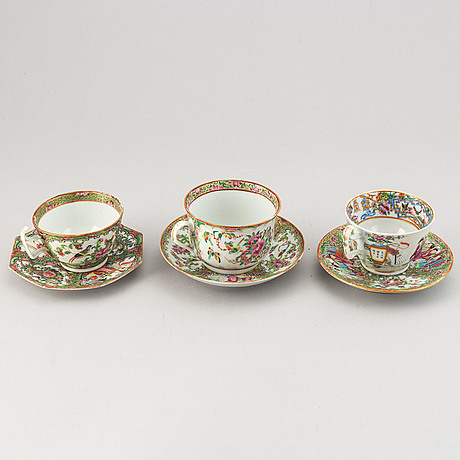 A part canton famille rose service, qing dynasty, late 19th century (13 pieces).