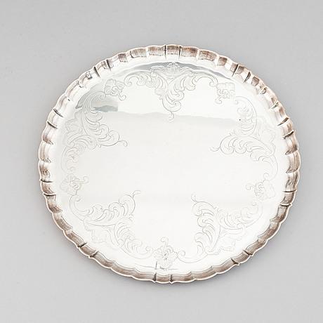 A silver tray, cg hallberg, stockholm 1954.