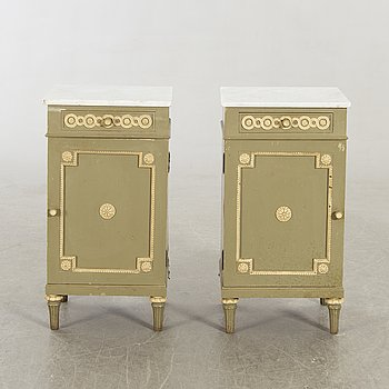 Bedside table, a pair of Gustavian style first half of the 20th century.