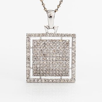 A 14K white gold necklace with diamonds ca. 0.80 ct in tital.