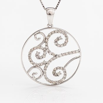 A 14K white gold necklace with diamonds ca. 1.00 ct in total.