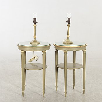 Lamp table, A pair, Gustavian style, first part of the 20th century. Lamps a couple.