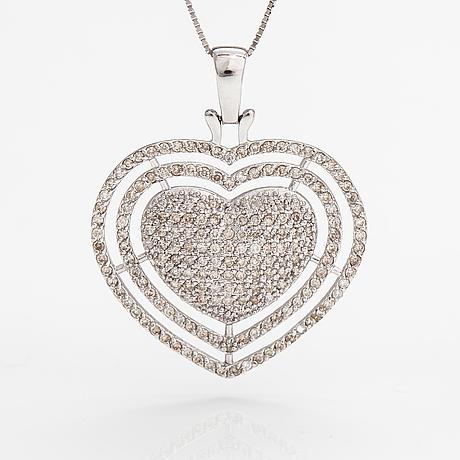 Halsband, 14k vitguld, diamanter ca 0.98 ct tot.