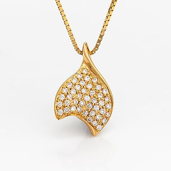 A 14K and 18K gold necklace with diamonds ca. 0.42 ct in total.