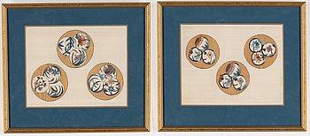 Sidenbrokad, två delar, inramade. Japan, Meiji (1868-1912).