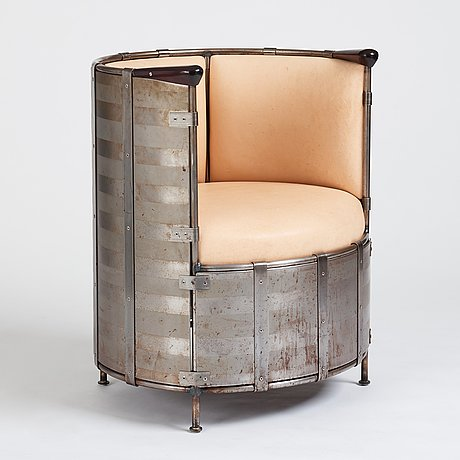 "Mats theselius, an ""älgskinnsfåtöljen"", easy chair, ed. 65/360, for källemo, sweden post 1991."