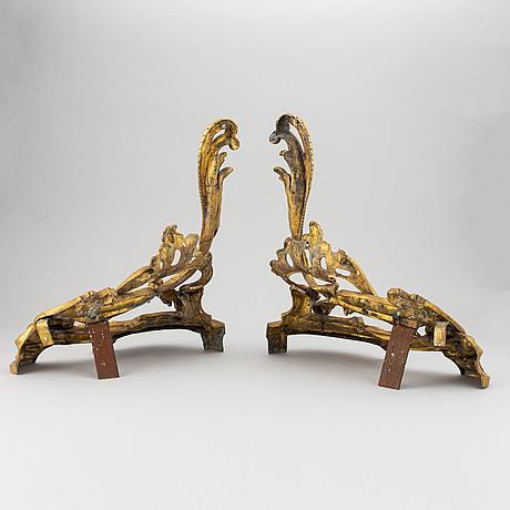 Eldhundar, ett par, louis xv-stil, 1800-talets slut.