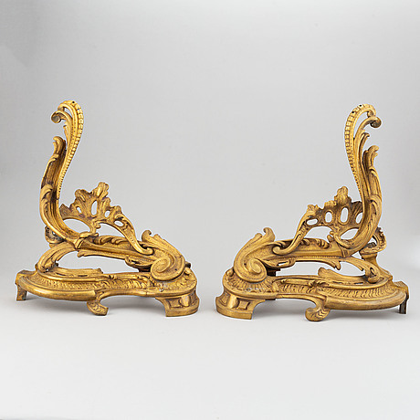 A pair of louis xv-style late 19th  century bronze chenets.