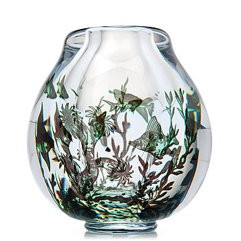 "8. Edward Hald, a ""fish graal"" glass vase, Orrefors, Sweden 1945."