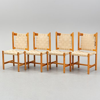 Four pine chairs, late 20th Century.